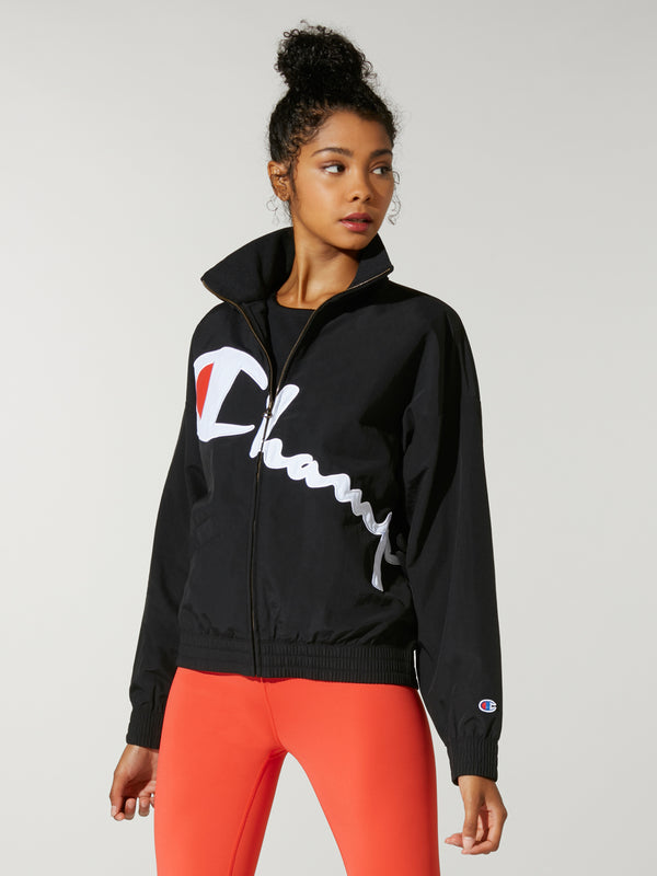 Black hooded sweatshirt with Champion logo diagonal across front.