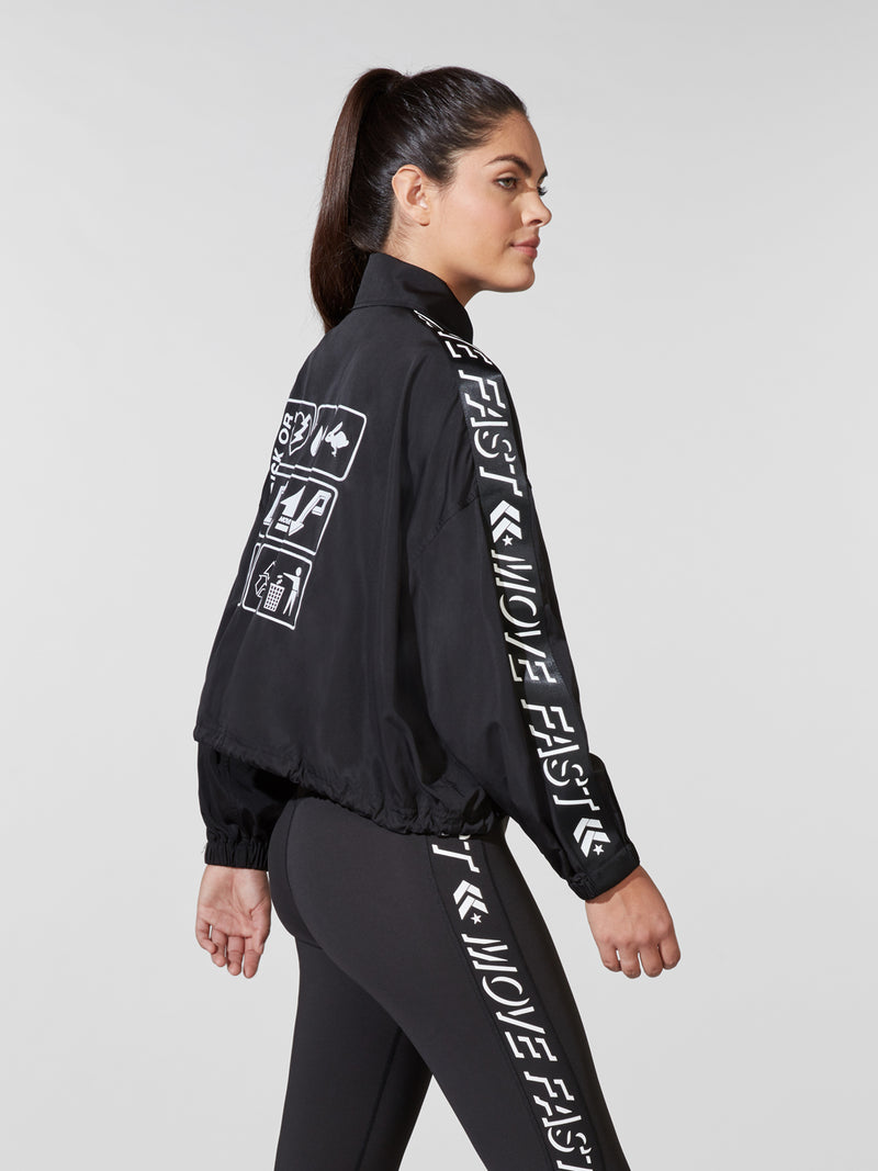 PAM & GELA X BARRY'S BLACK DRAWSTRING JACKET