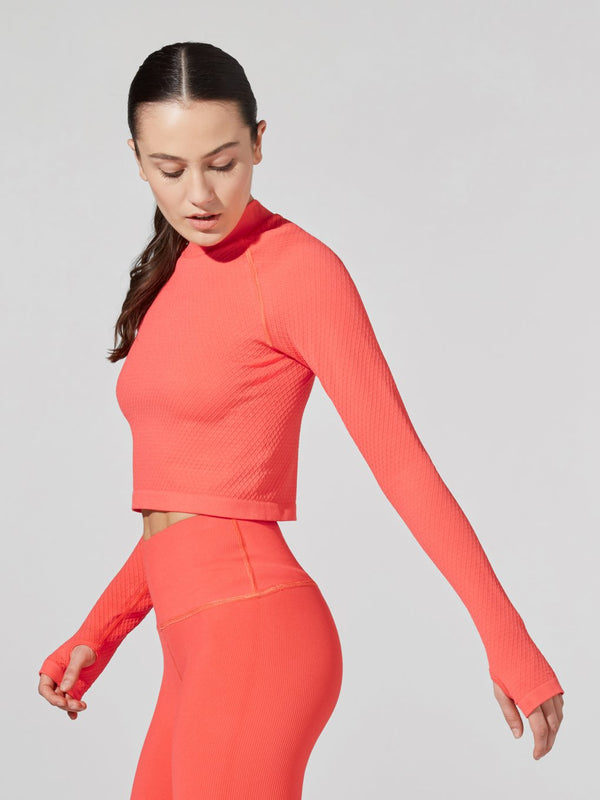 LUNE X BARRY'S CAYENNE STRUCTURED CROP LONG SLEEVE TOP