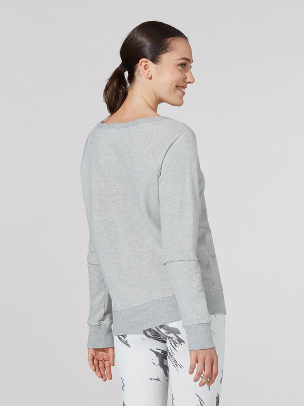BARRY'S HEATHER GREY DECONSTRUCTED SWEATSHIRT