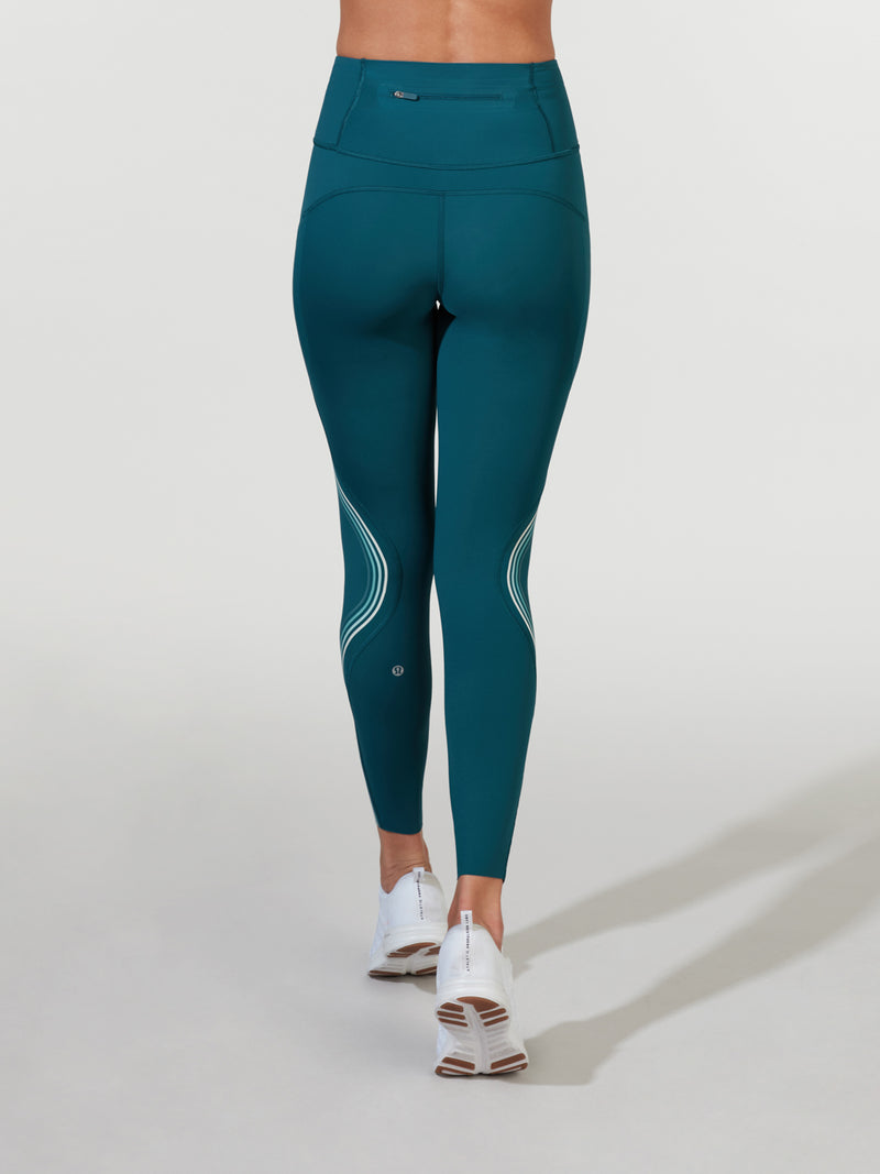 LULULEMON BERMUDA TEAL SPEED LIGHT TIGHT 28IN