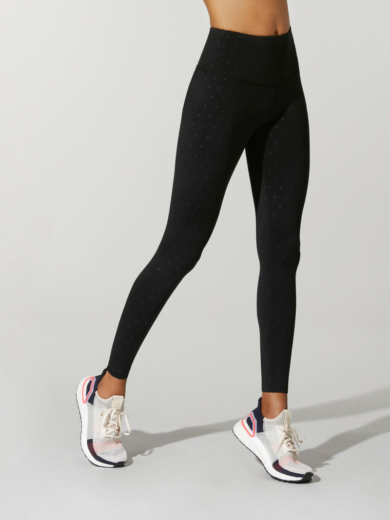 Front shot of model wearing black FIT EMBOSSED SPEED TIGHTs