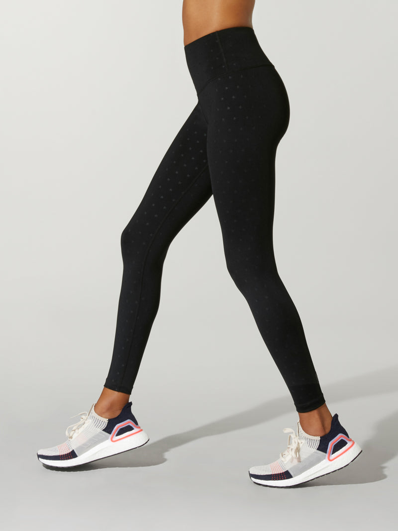 side shot of model wearing black FIT EMBOSSED SPEED TIGHTs