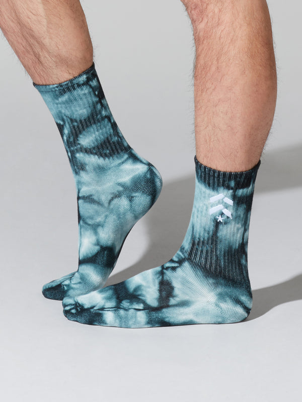 BARRY'S UNISEX GREEN TIE DYE SOCKS