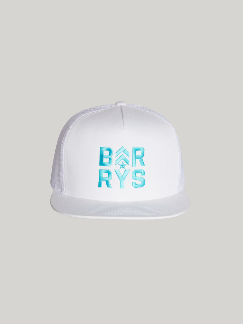 BARRY'S FLEXFIT WHITE TRUCKER HAT