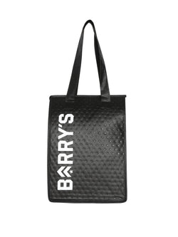 Black tote bag with silver sheen with Barry's written vertically on side