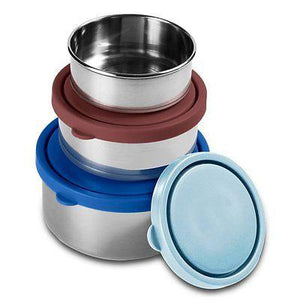 Stainless Steel Food Containers | Set of 3 | Blue, Sky Blue, Chocolate