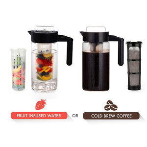 Cold Brew Coffee & Iced Tea Infuser Pitcher | Bonus Fruit Infusion Filter | 1 Quart (1000 ml)