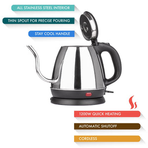 Stainless Steel Tea & Coffee Cordless Electric Kettle | 27 oz (800 ml)