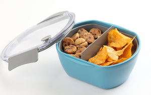 Plastic Food Containers with Divider | Set of 2 | Blue, Gray