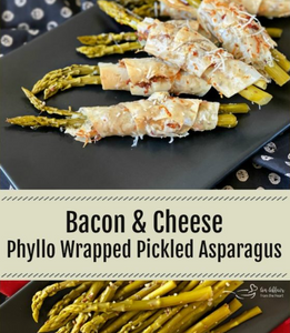 Bacon & Cheese Phyllo Wrapped Pickled Asparagus | Healthy Snacks | Healthy Quick Snack Wraps