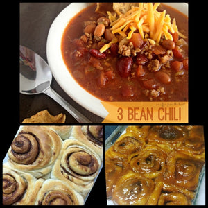 Sweet & Savory Cinnamon Rolls & Chili Combo / Chili with Fat Boy Bloody Mary Mix / Stacy Lynn's Cinnamon Rolls / Best Winter Snack or Meal
