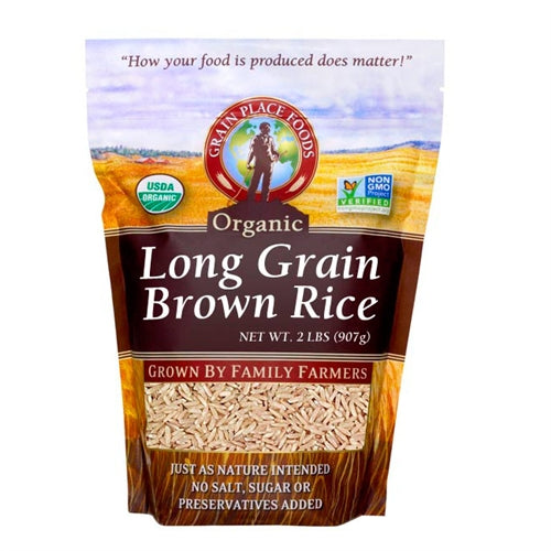 Grain Place Foods Non-GMO Organic Long Grain Brown Rice 2lb Bag