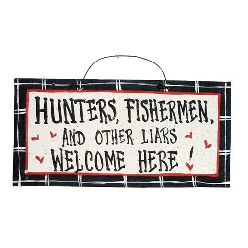 IM's Countryside Painting Hunters, Fisherman, and Other Liars Welcome Here Sign