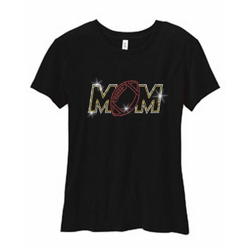 Nature Finds & Designs Rhinestone Football Mom T-Shirt