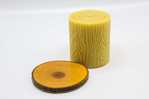 Hand Poured Bees Wax Candle | Includes Wooden Base | 12 oz. candle | Buzz Savories