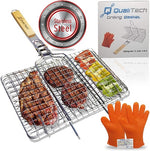 Stainless Steel Grilling Basket with Gloves Set | Must Have Camping Item | Simplify Your Grilling