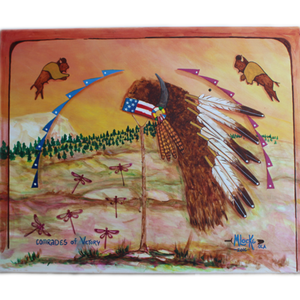 "Lakota Crafters ""Comrades of Victory"" Painting by Merle Locke"
