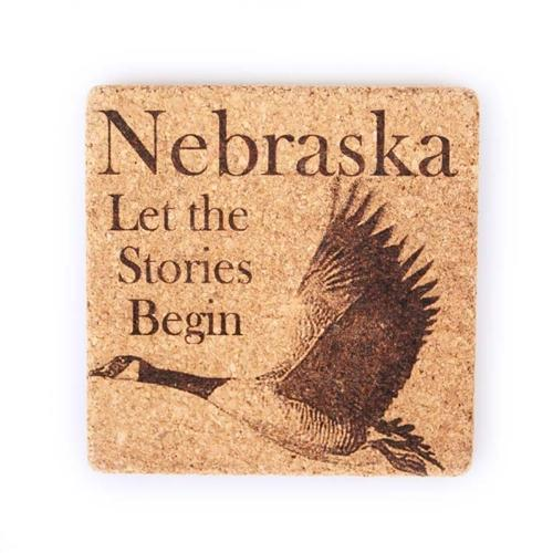 Engraved Cork Coasters | 4 Pack | Animal Coasters | Nebraska - Let The Stories Begin