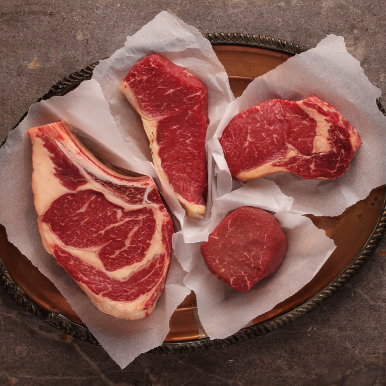 Exceptional Quality Package | Aged New York Steaks & Ground Beef Patties | Hormone & Antibiotic Free