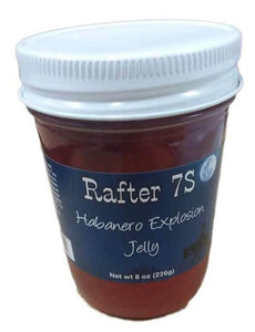Habanero Explosion Jelly 8oz | Jelly with a Kick | Hot! Hot! Hot! | All Natural No Preservatives | Rafter 7S