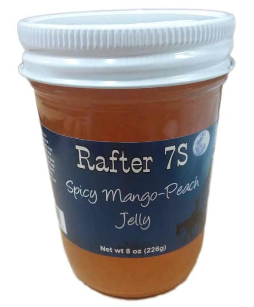 Spicy Mango-Peach Jelly 8oz | Delicious Blend of Mangos & Peaches With A Kick | No Preservatives | Rafter 7S