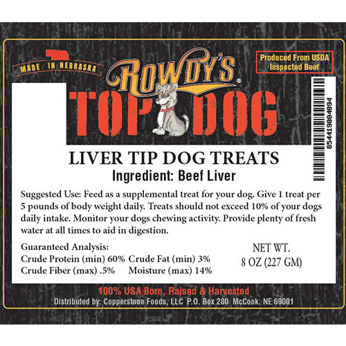 Liver Tip Dog Treat 8oz Bag | All Natural Dog Treats | USDA Inspected Beef | Rowdy's Top Dog