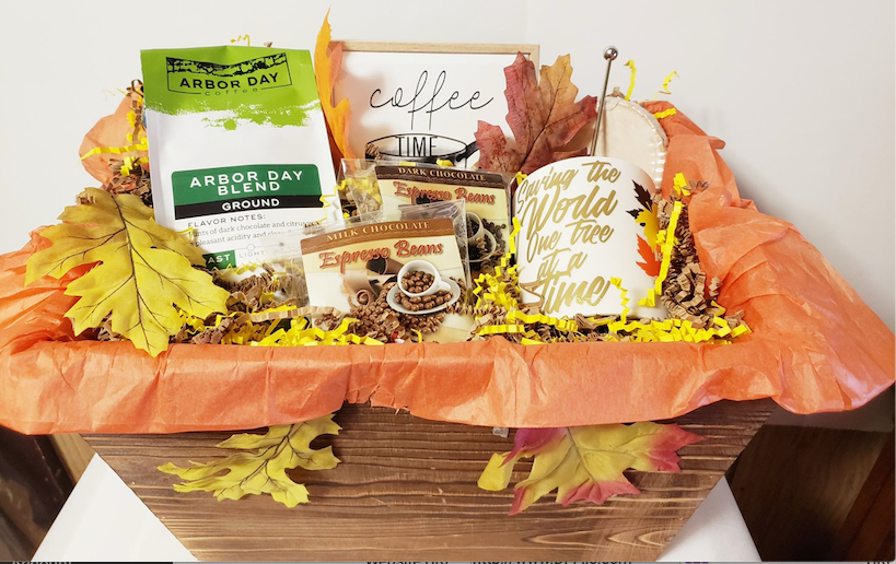 Arbor Day Gift Basket | Coffee Drinker's Basket | Fall Into Good Coffee | The Gift That Saves Trees