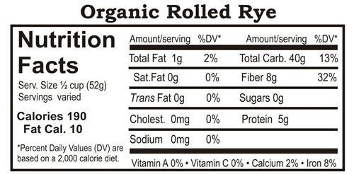 Grain Place Foods Non-GMO Organic Rolled Rye 25lb Bag