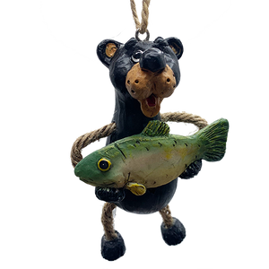 Bear With Fish Ornament - Bert Anderson Collection