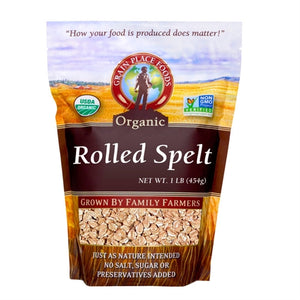 Grain Place Foods Non-GMO Organic Rolled Spelt 1lb Bag