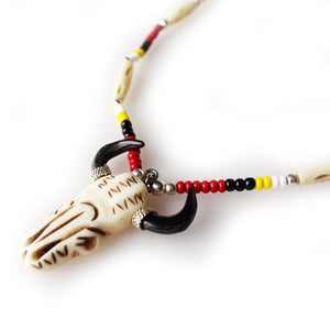 Lakota Crafters Buffalo Skull Necklace by Brenda Good Lance