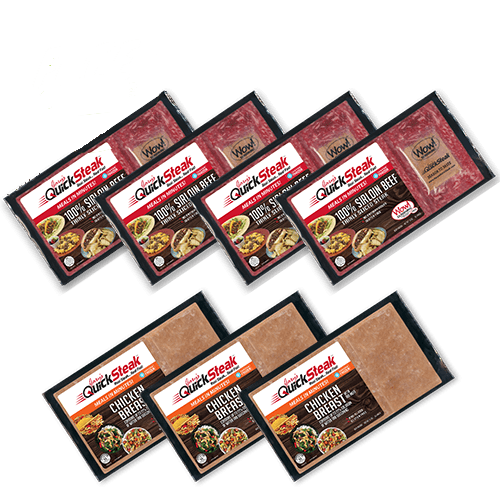 Combo Pack of 7 | 4 Sirloin Beef Steak & 3 Chicken | Easy & Quick to Cook | FREE Shipping
