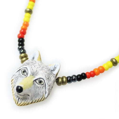 Lakota Crafters Coyote Necklace by Freida Big Road