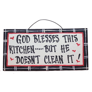 IM's Countryside Painting God Blesses This Kitchen ... But He Doesn't Clean It Sign