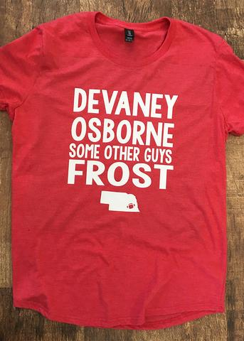 "Ladies Red & White ""Devaney Osborne - Some Other Guys - Frost"" T-Shirt by Small Town Famous"