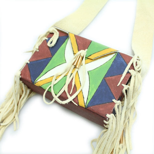 Lakota Crafters Buffalo Parfleche Box/Purse with X Pattern by Juan Espinosa