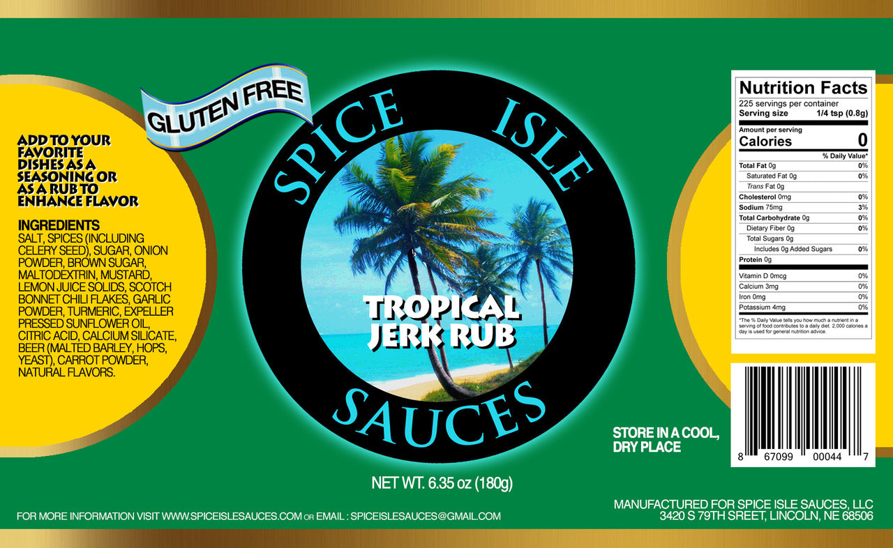 Tropical Jerk Rub |  Single Bottle or Case of 12 | Authentic Jamaican Flavors | Real Scotch Bonnet Pepper | Gluten Free