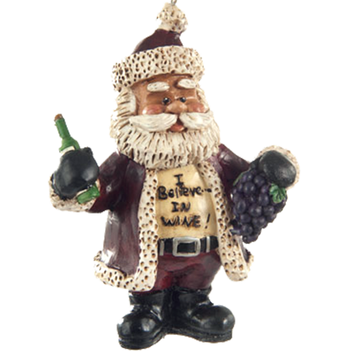 Santa Wine Bottle and Grapes Ornament | Shipping Included