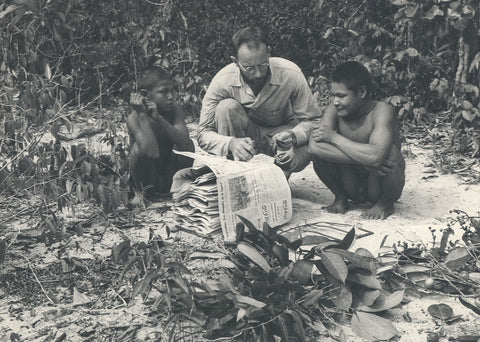 Schultes collecting botanical specimens with the help of indigenous Amazonian people