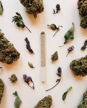 Load image into Gallery viewer, Puff Herbal Smokes Self-Care CBD herbal spliff with CBD hemp flower and an herbal blend of chocolate mint, tulsi, damiana, mullein, marshmallow leaf, lemon balm, and wood betony