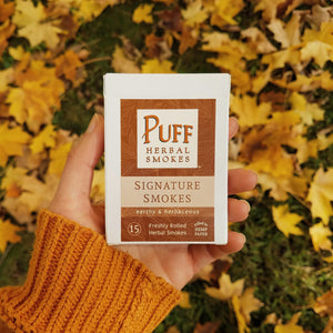 Puff Herbal Smokes brand Signature Smokes - pack of herbal cigarettes with damiana, mullein, and marshmallow
