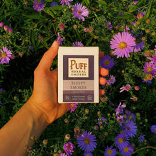 Load image into Gallery viewer, Puff Herbal Smokes brand Sleepy Smokes - herbal cigarettes with lavender, passionflower, and mugwort