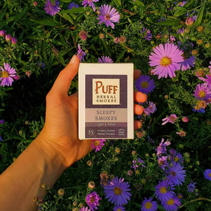 Puff Herbal Smokes brand Sleepy Smokes - herbal cigarettes with lavender, passionflower, and mugwort