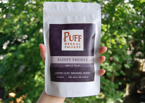 Sleepy Smokes: herbal loose-leaf smoking blend with lavender