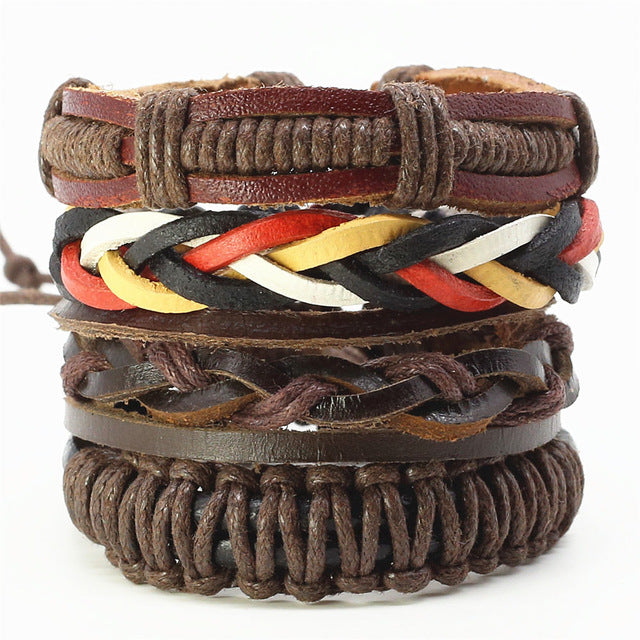 Fashion Handmade Multilayer Woven Leather Men Bracelets