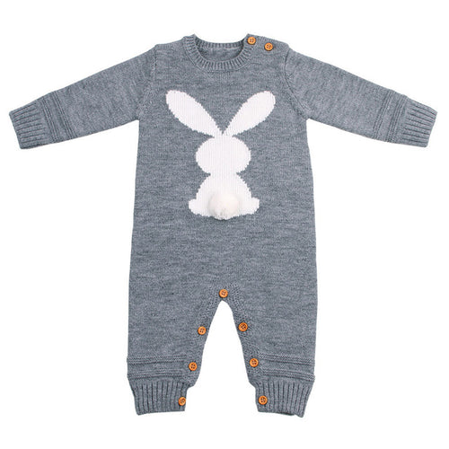 Cute Knitted Rabbit Baby Boy Girl Long Sleeve Rompers Jumpsuit