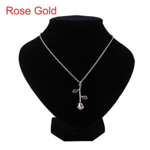 Delicate Rose Flower Pendant Necklace