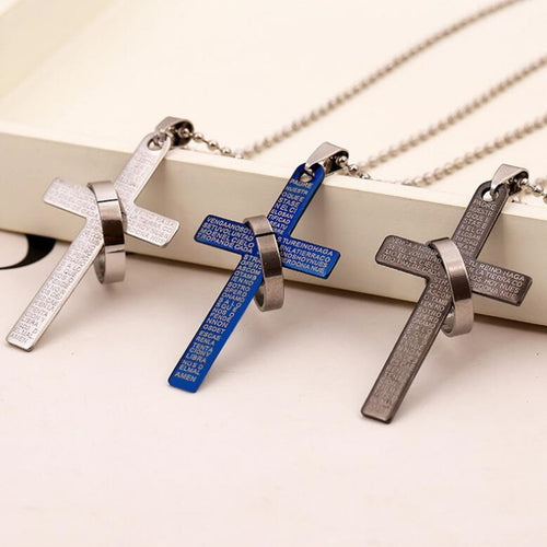 Fashion Stainless Steel Christian Bible Prayer Cross