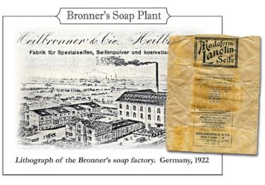 "1880s/1900s - Heilbronners invent first liquid castile soap—supply washrooms across Germany—sell bar soaps under ""Madaform"" brand."